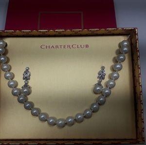 Pearl Necklace & Earrings Jewelry Set